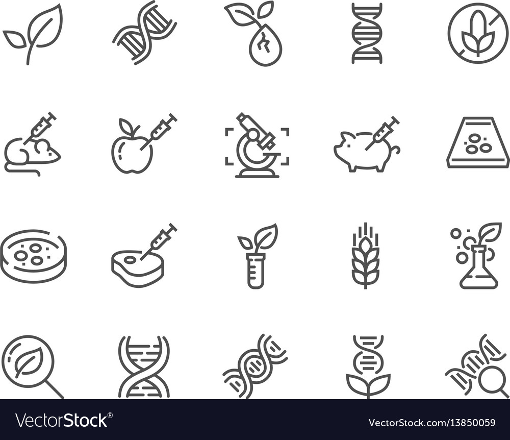 Line gmo icons vector image