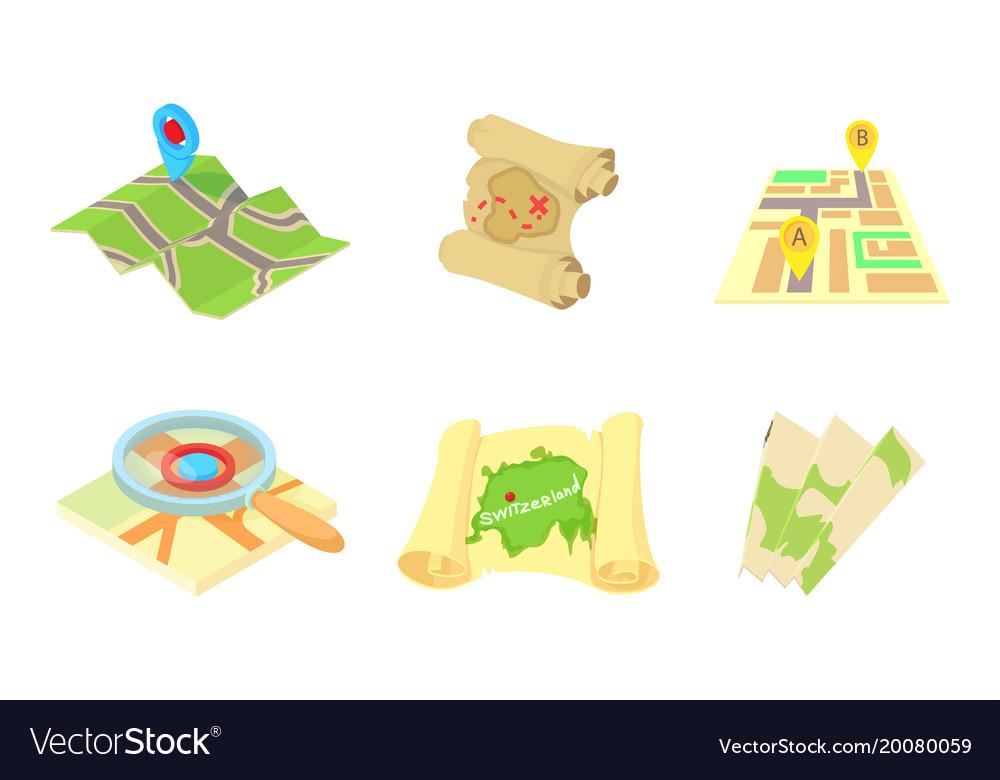 maps icon set cartoon style royalty free vector image vectorstock