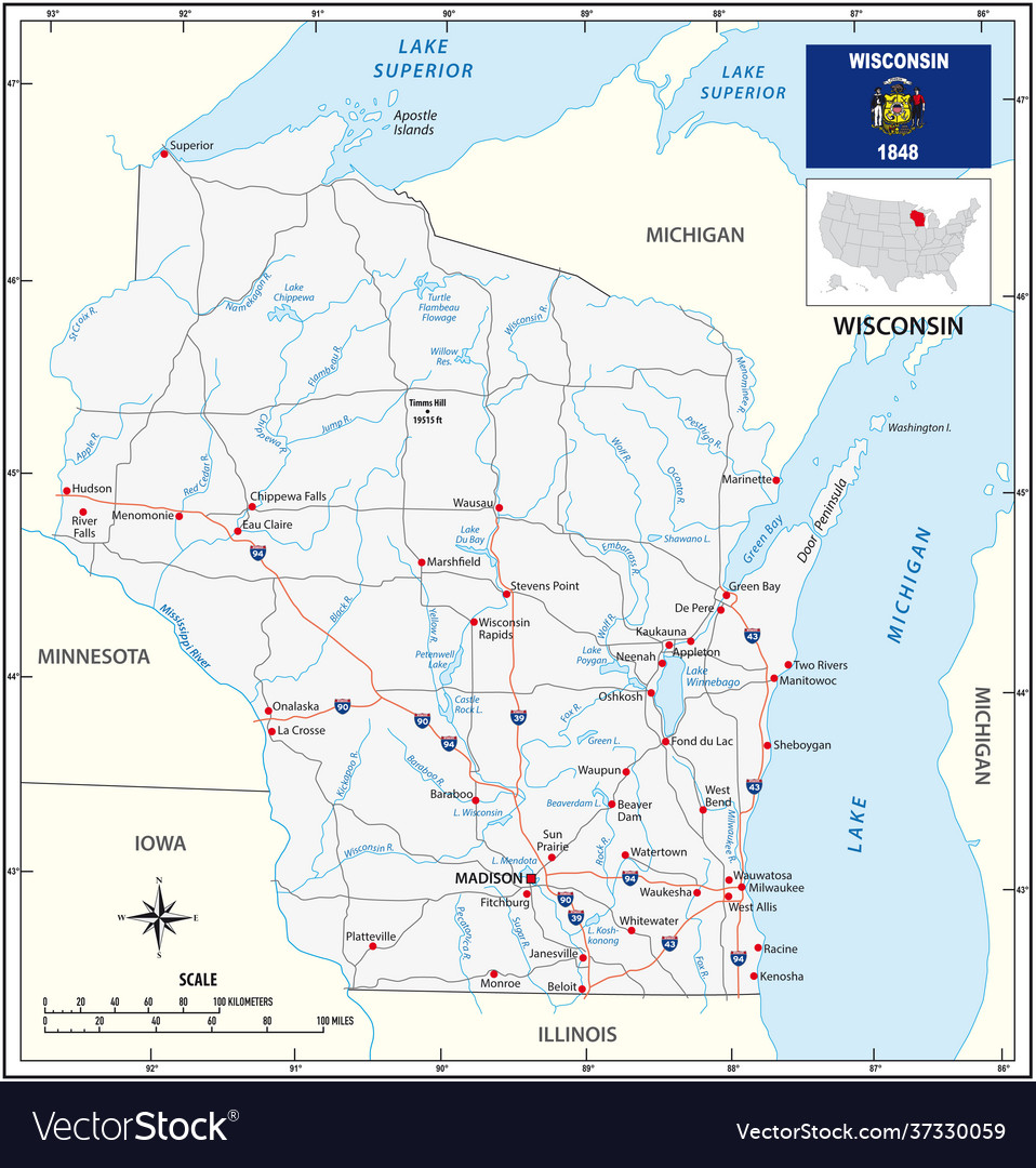 Road map us state wisconsin with flag