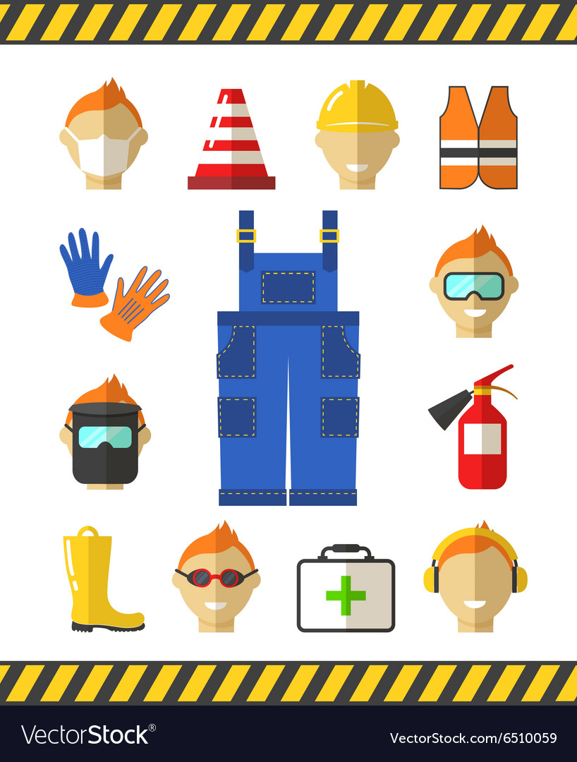 Safety at work Job safety flat icons Protective