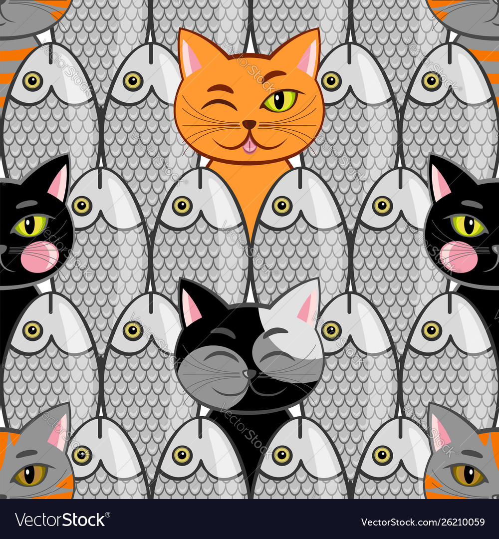 Seamless with fish and cats