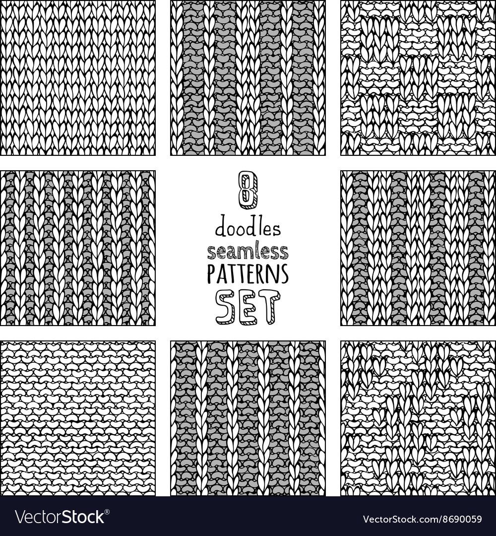 Set of various doodles stitch patterns