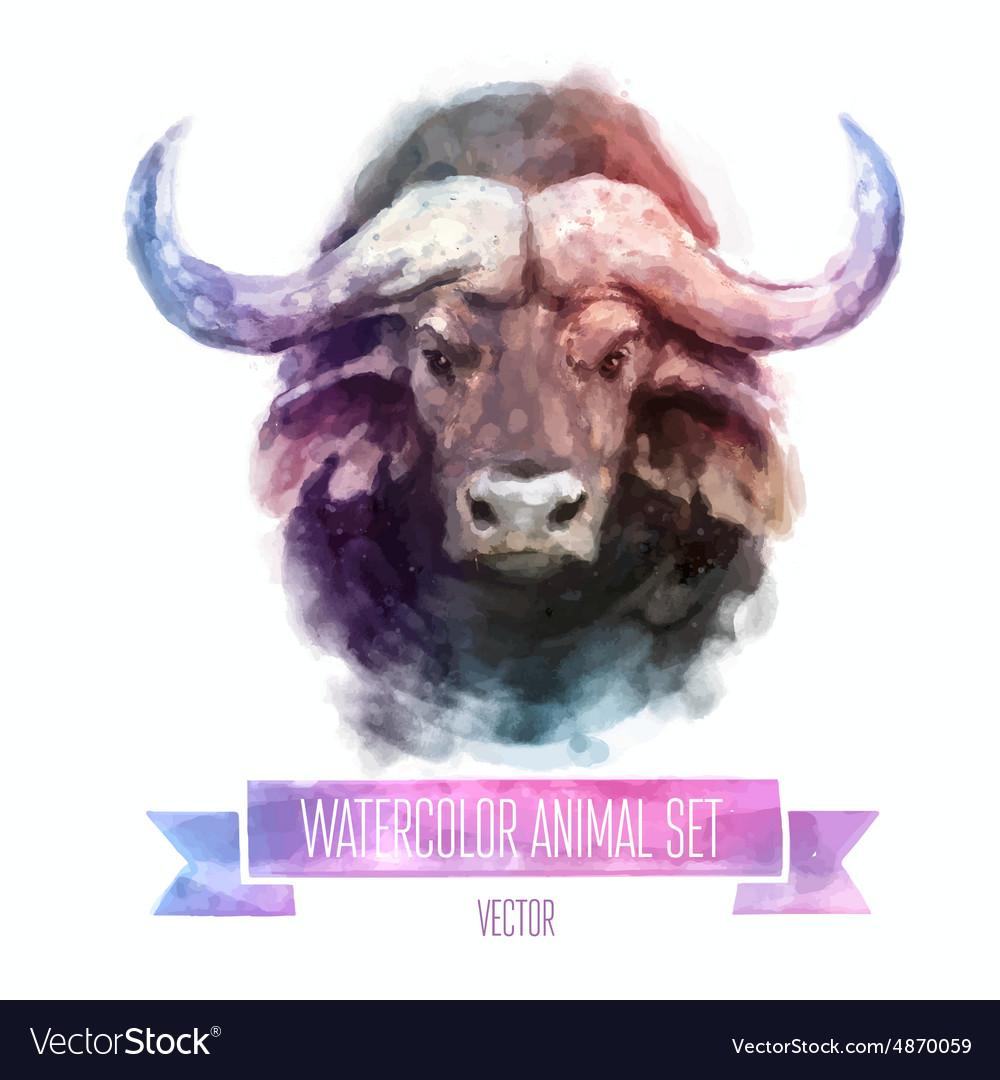 Set of watercolor Cute bull