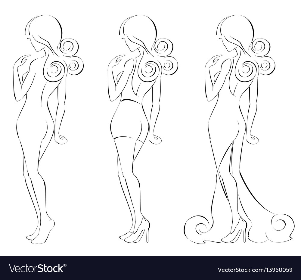 Silhouette of a beautiful woman in fine lines vector image