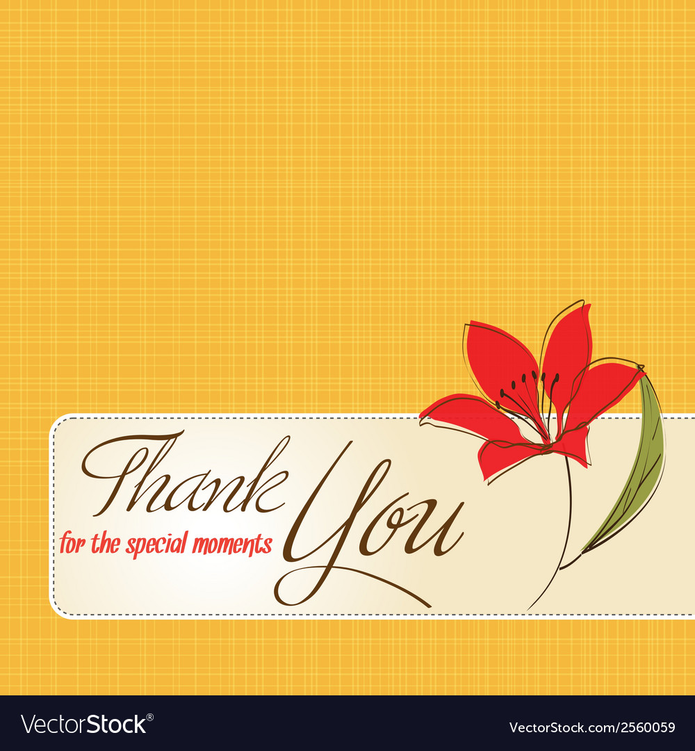 Thank You Greeting Card With Flower Royalty Free Vector