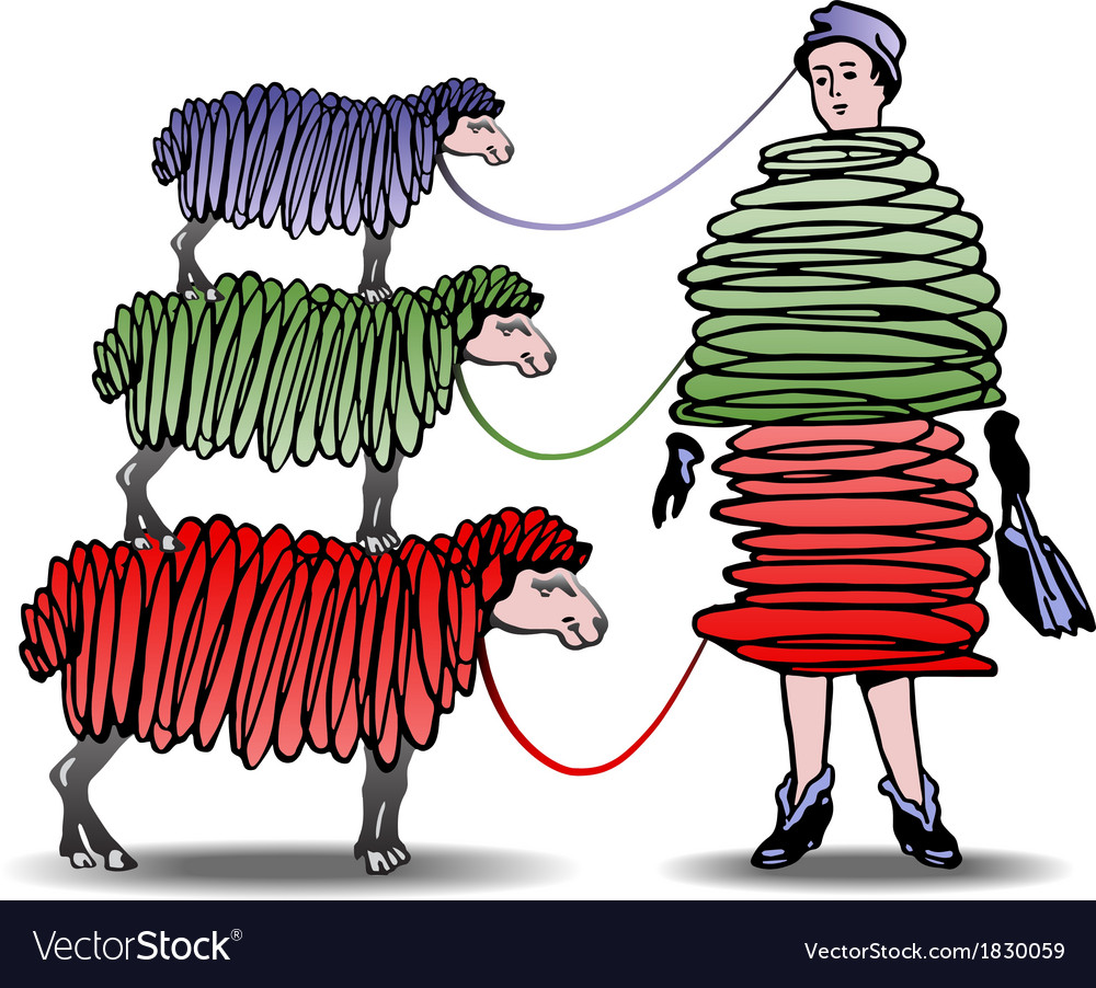 Three Sheep Knitting Woman a Dress