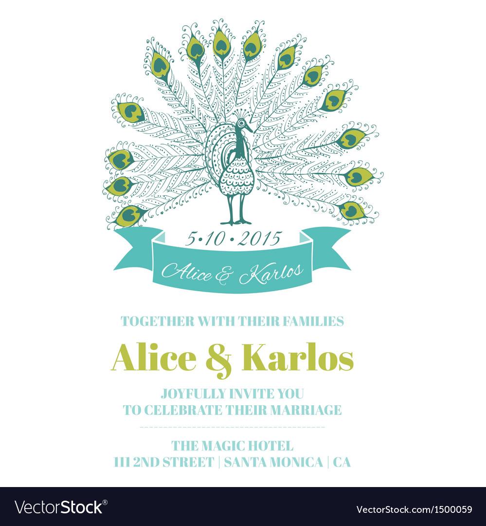 Wedding Vintage Invitation - Peacock Theme vector image
