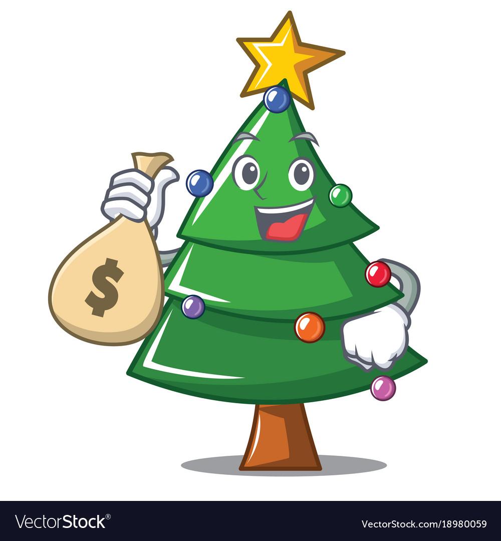with money bag christmas tree character cartoon vector image