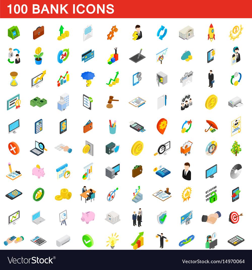 100 bank icons set isometric 3d style