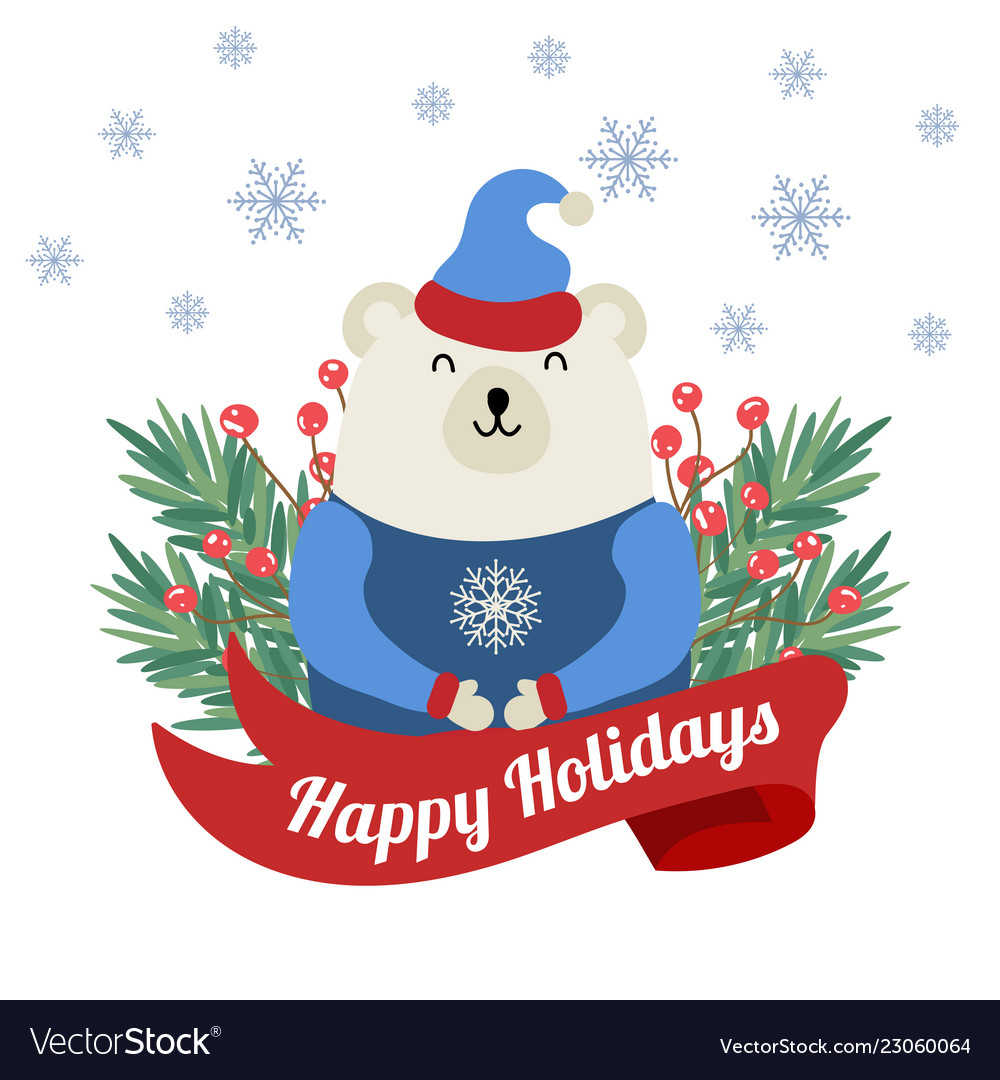 Christmas card with tree branches and polar bear