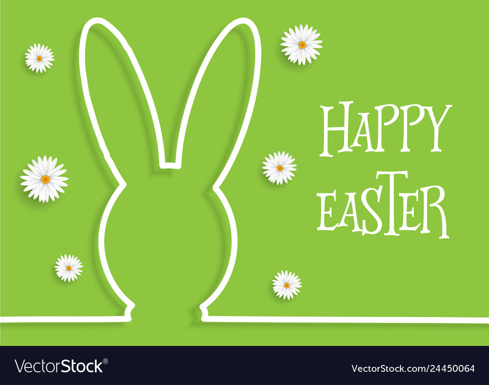 Easter background with bunny outline and daisies