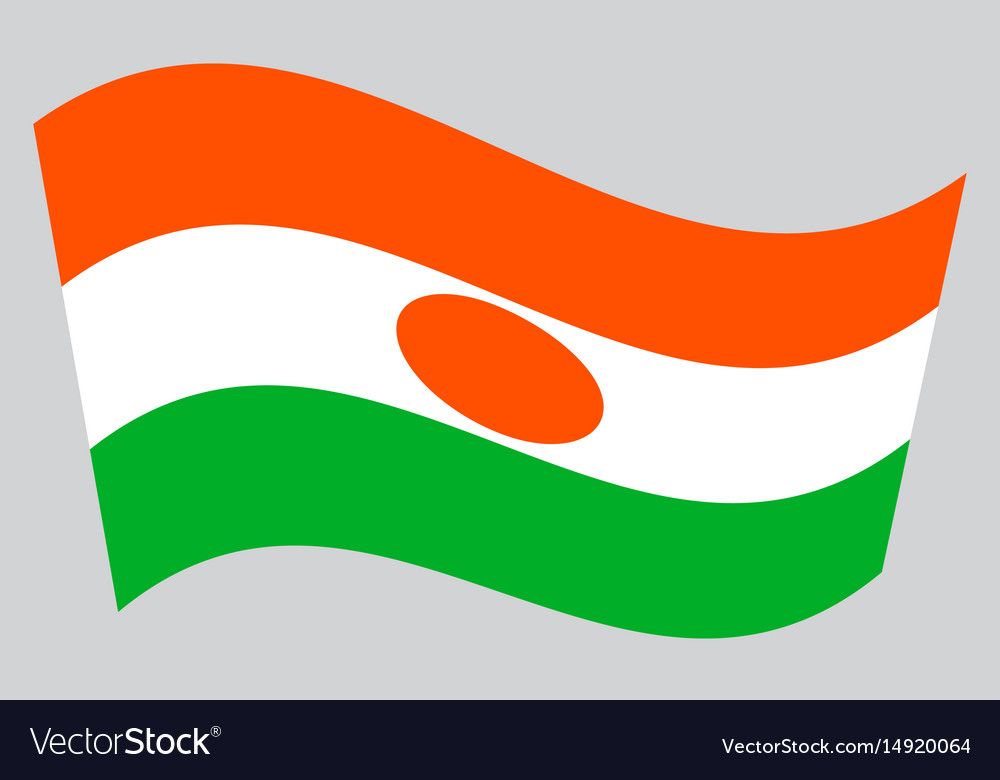 Flag of niger waving on gray background