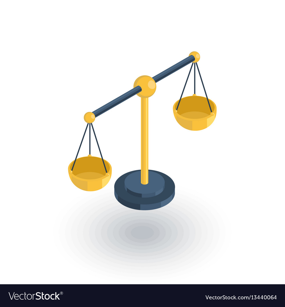 Justice and law symbol scales isometric flat icon