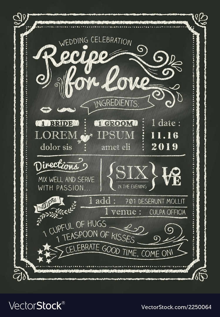 Recipe Chalkboard Wedding Invitation Background Vector Image