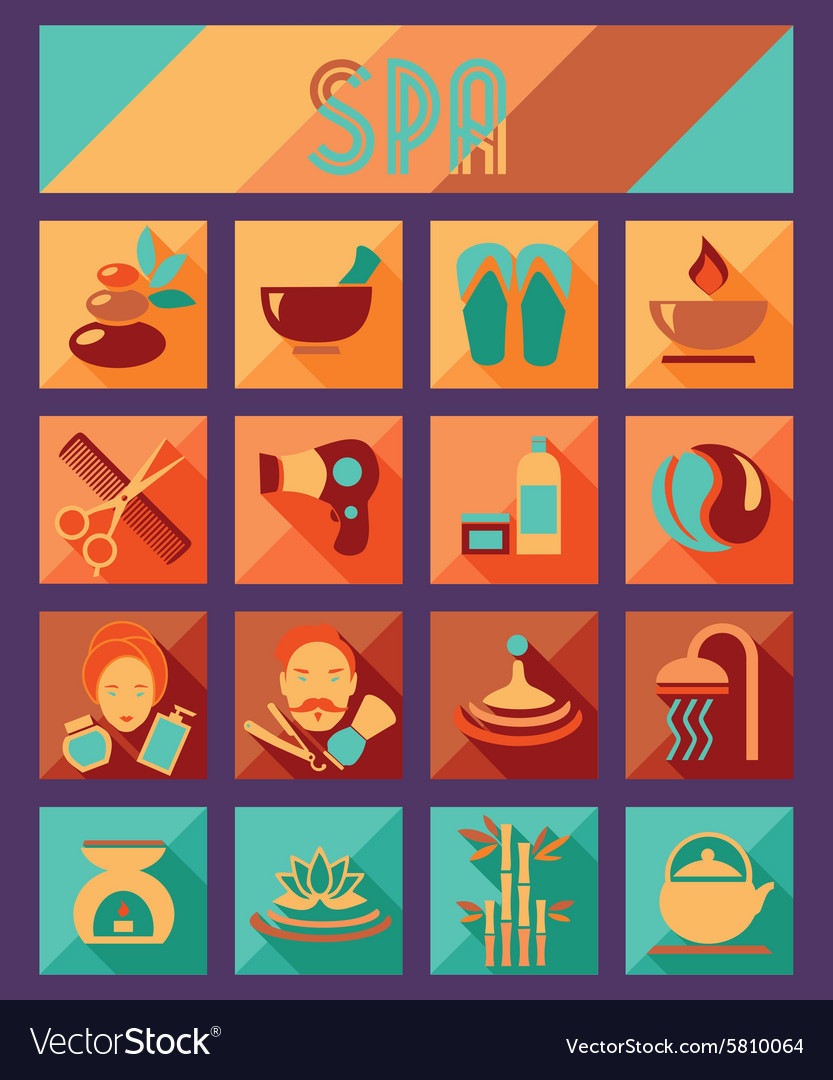 Set of spa and beauty flat icons Healthcare salon