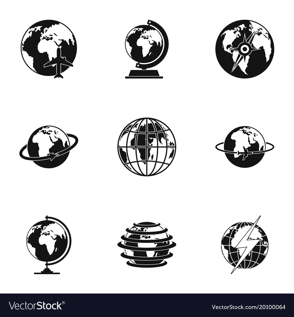 Universal icons set simple style