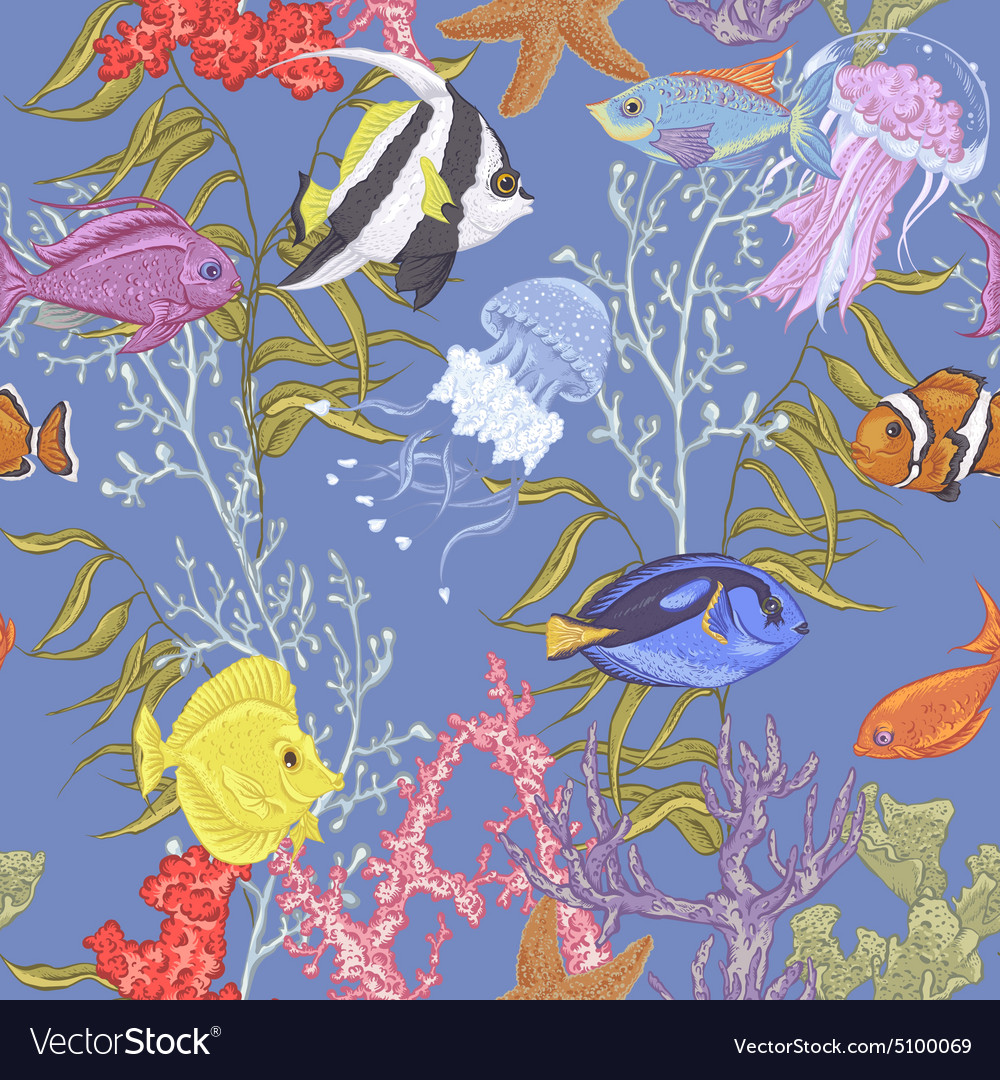 Blue sea life seamless background underwater