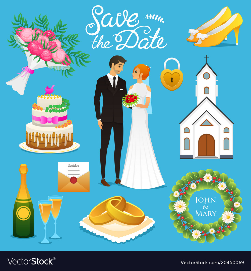 Bride and groom wedding ceremony set newlyweds