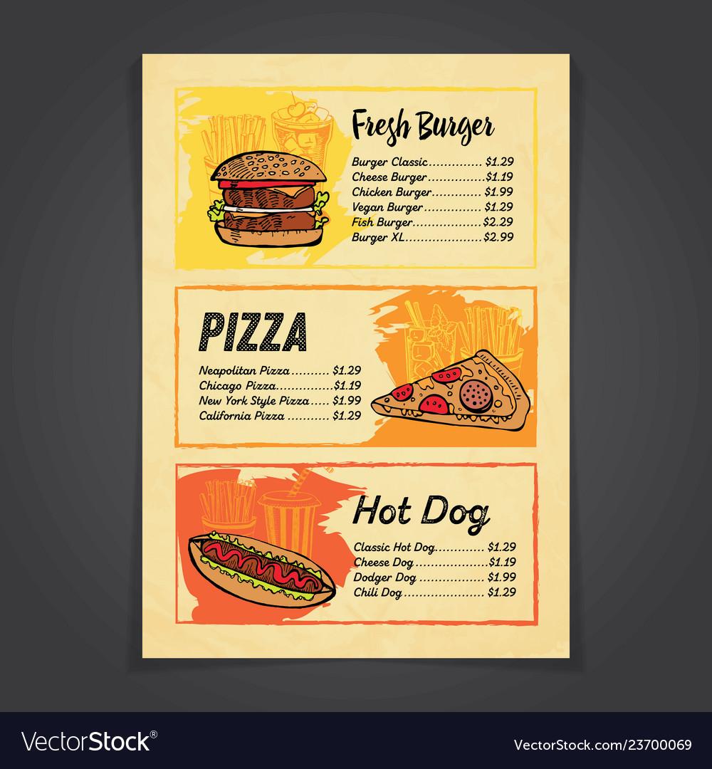 Fastfood menu card with handrawn