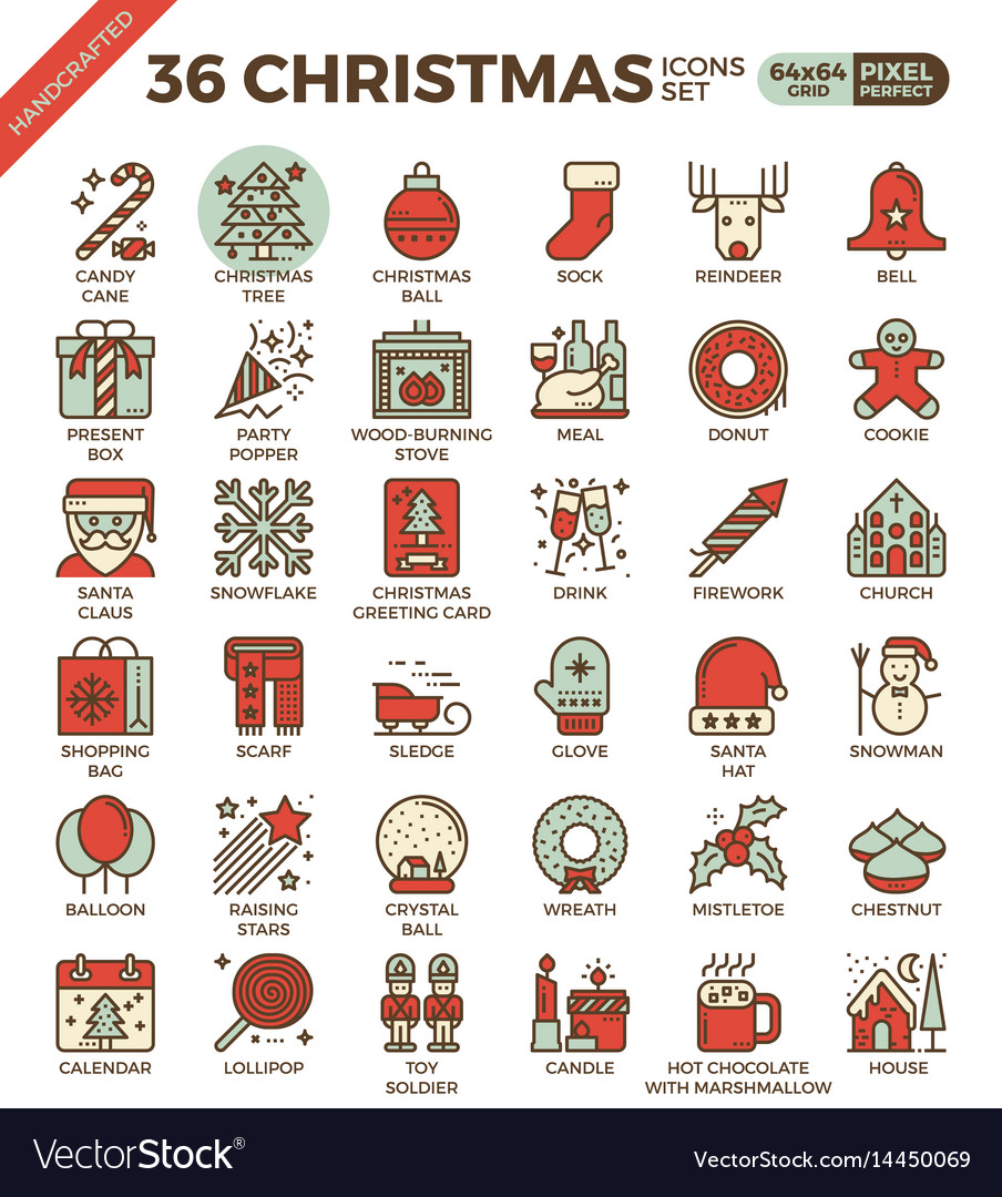 Merry christmas xmas celebration outline icons vector image
