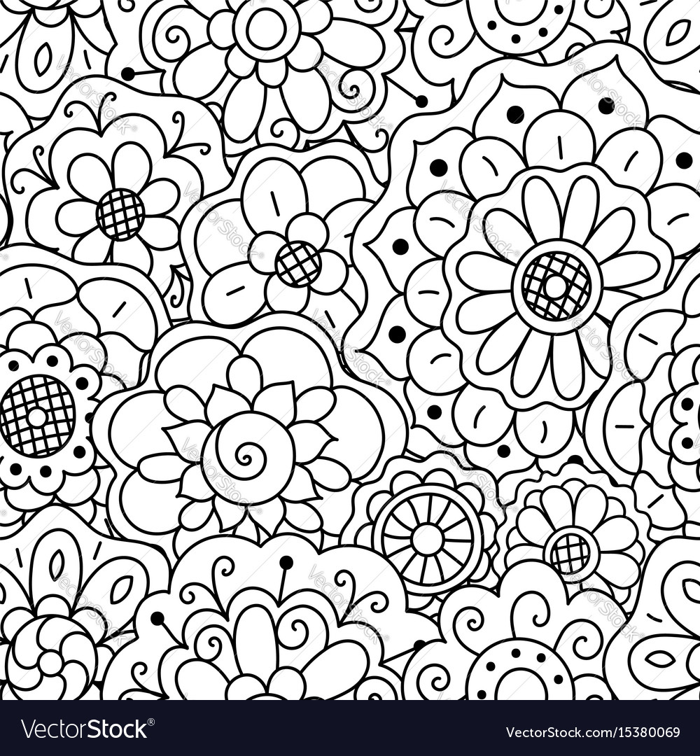 Seamless pattern hand drawn floral doodle mandala