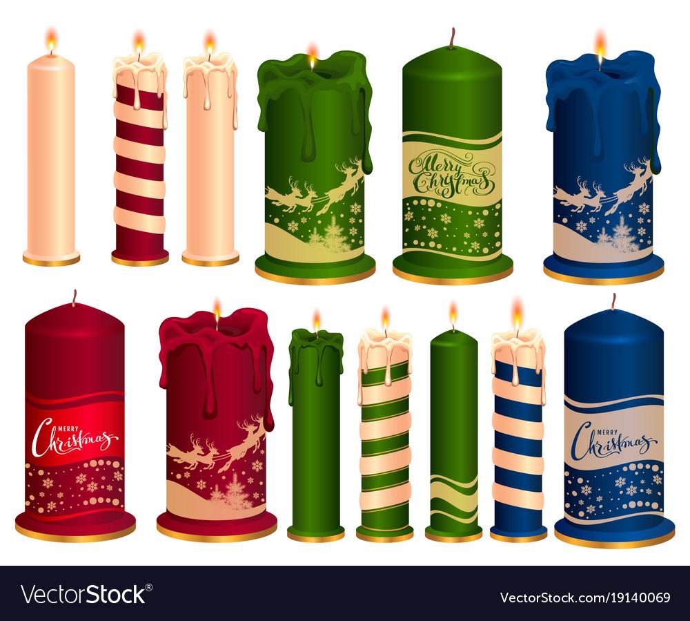 Christmas Candles.Set Of Burning Decorative Christmas Candles