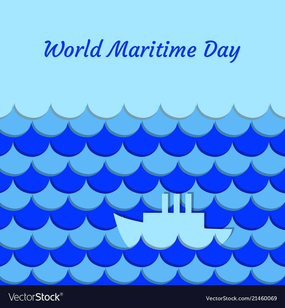 World maritime day september 27 stylized waves