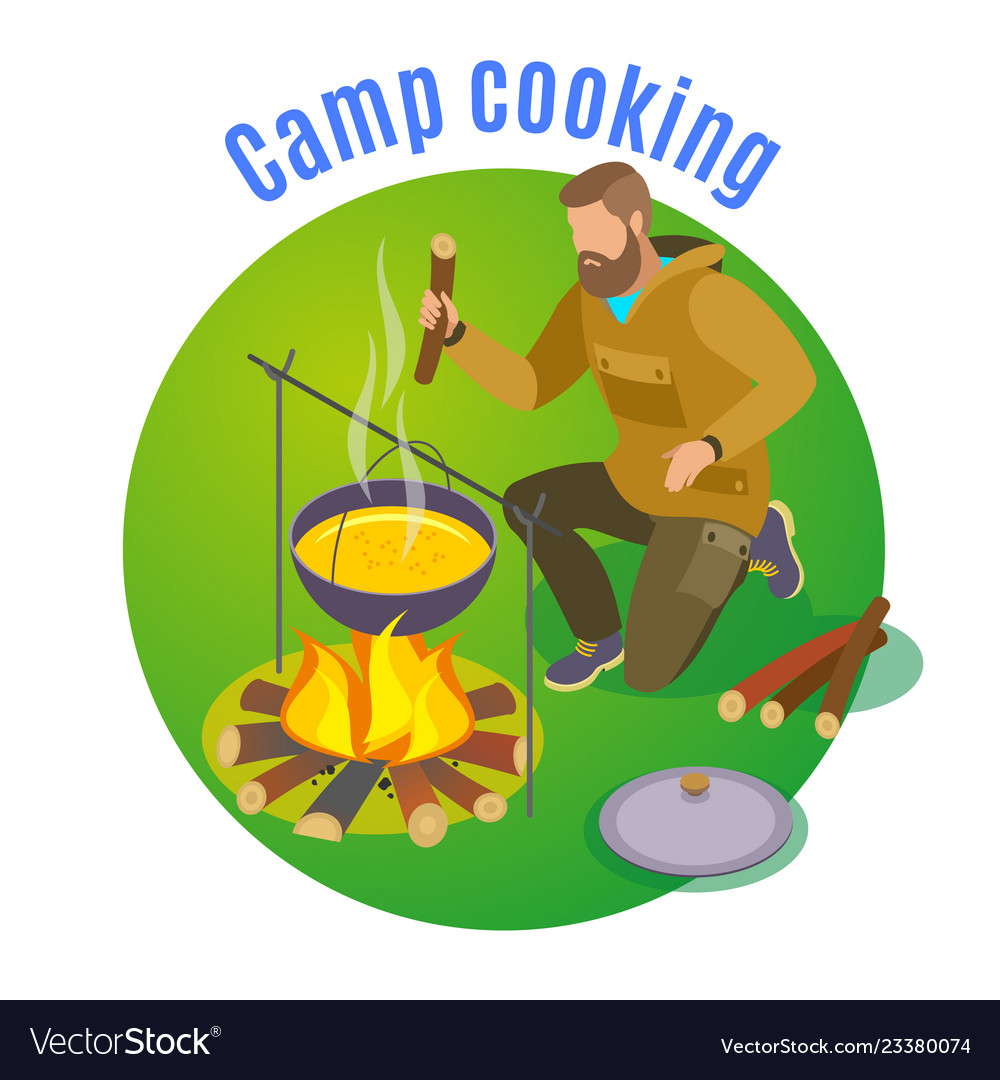 Camp cooking circle background