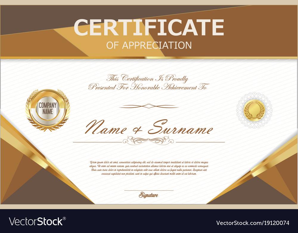 Certificate Retro Design Template 9 Royalty Free Vector