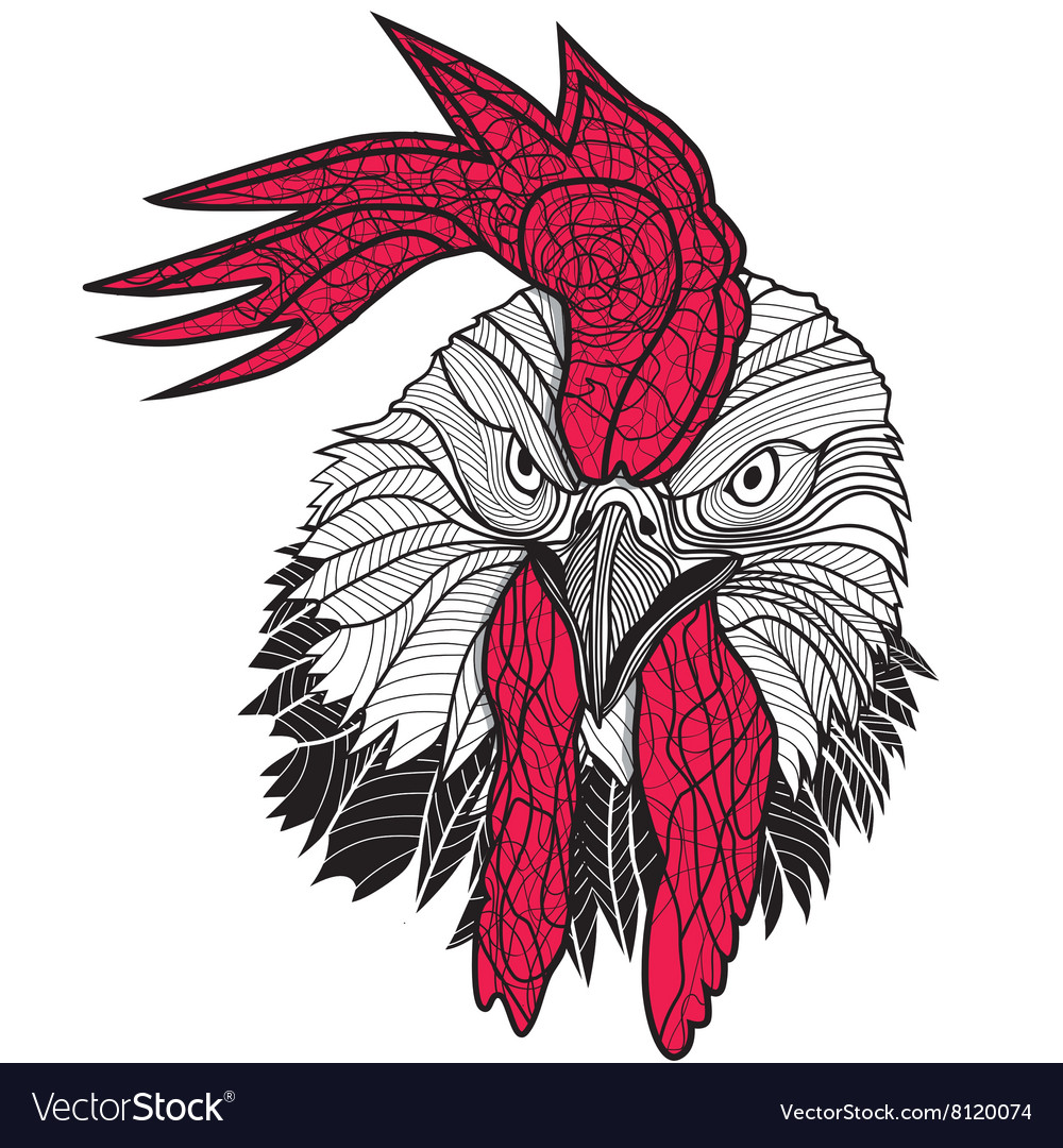 Chicken Rooster Head Design For T Shirts Isolated Vector Image