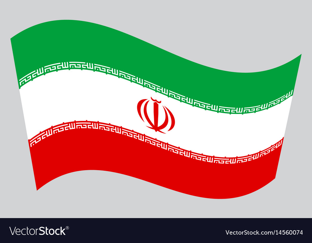 Flag of iran waving on gray background vector image