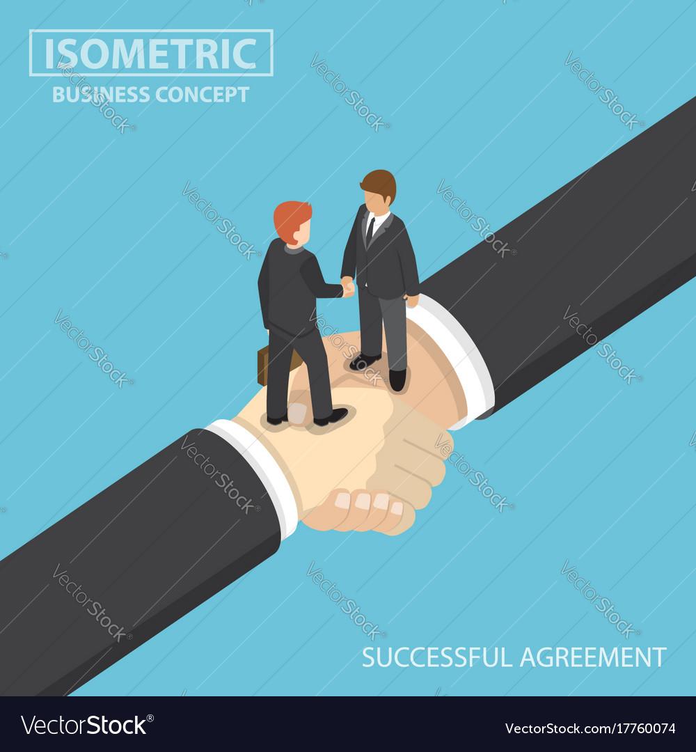 Isometric business people shaking hands on big vector image