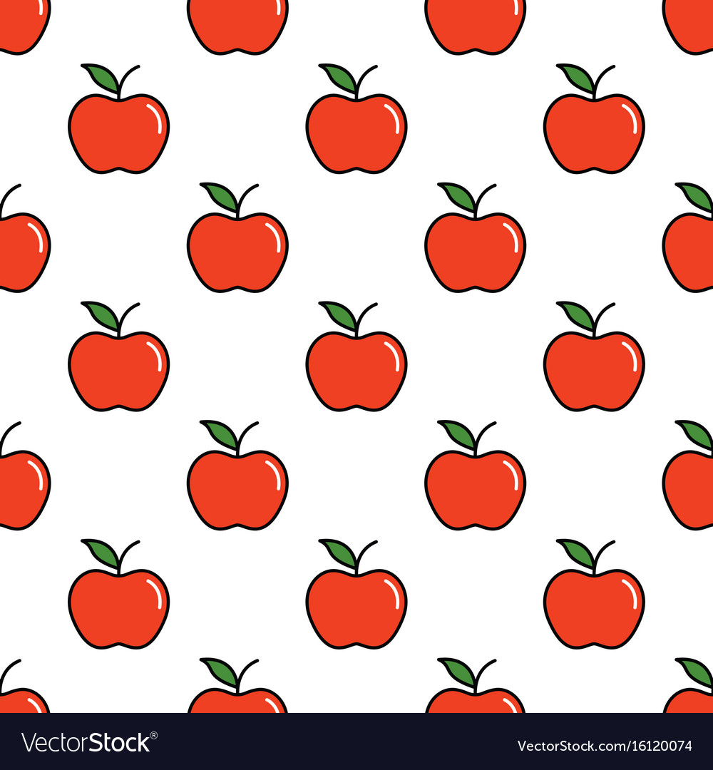 Pattern with thin line red apples vector image