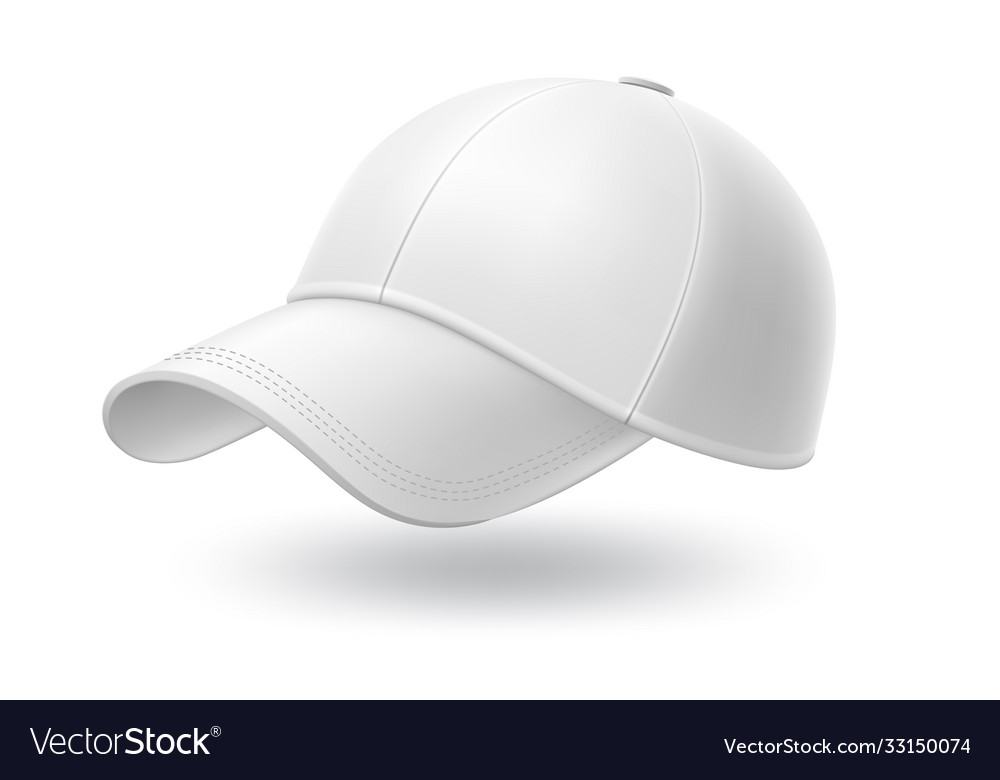 Realistic white baseball cap mock up