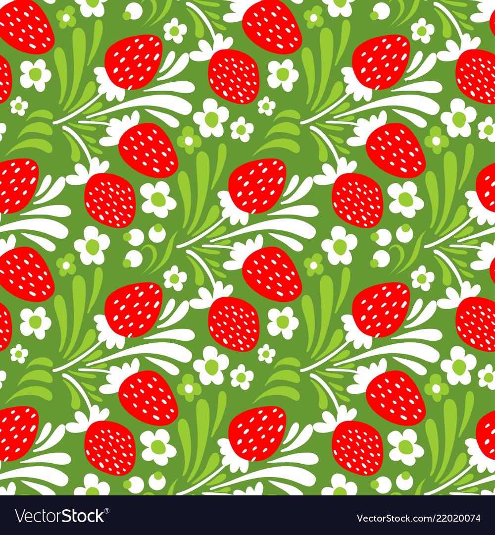 Seamless cute strawberry pattern background