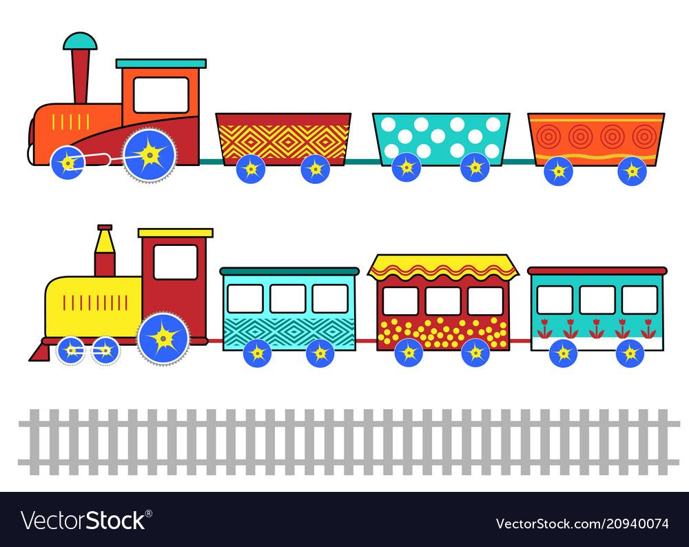 Set cute kids cartoon trains