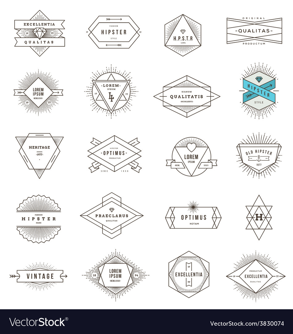 Set of hipster line emblems and signs