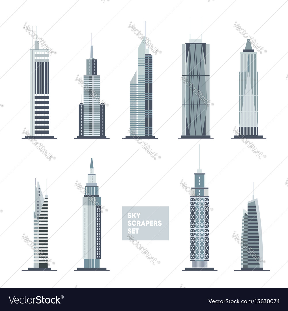 Skyscrapers set city design elements flat