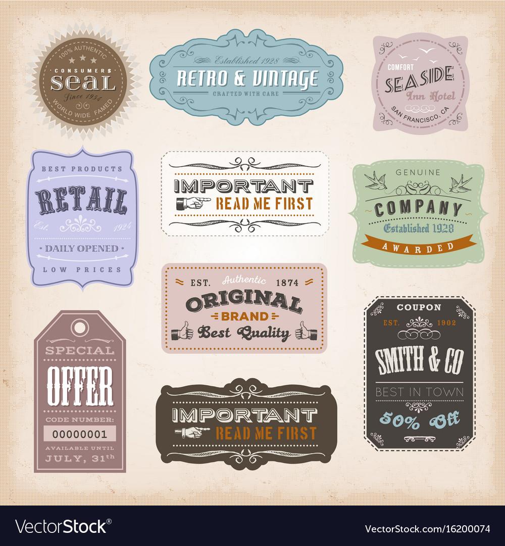 Vintage labels ans signs