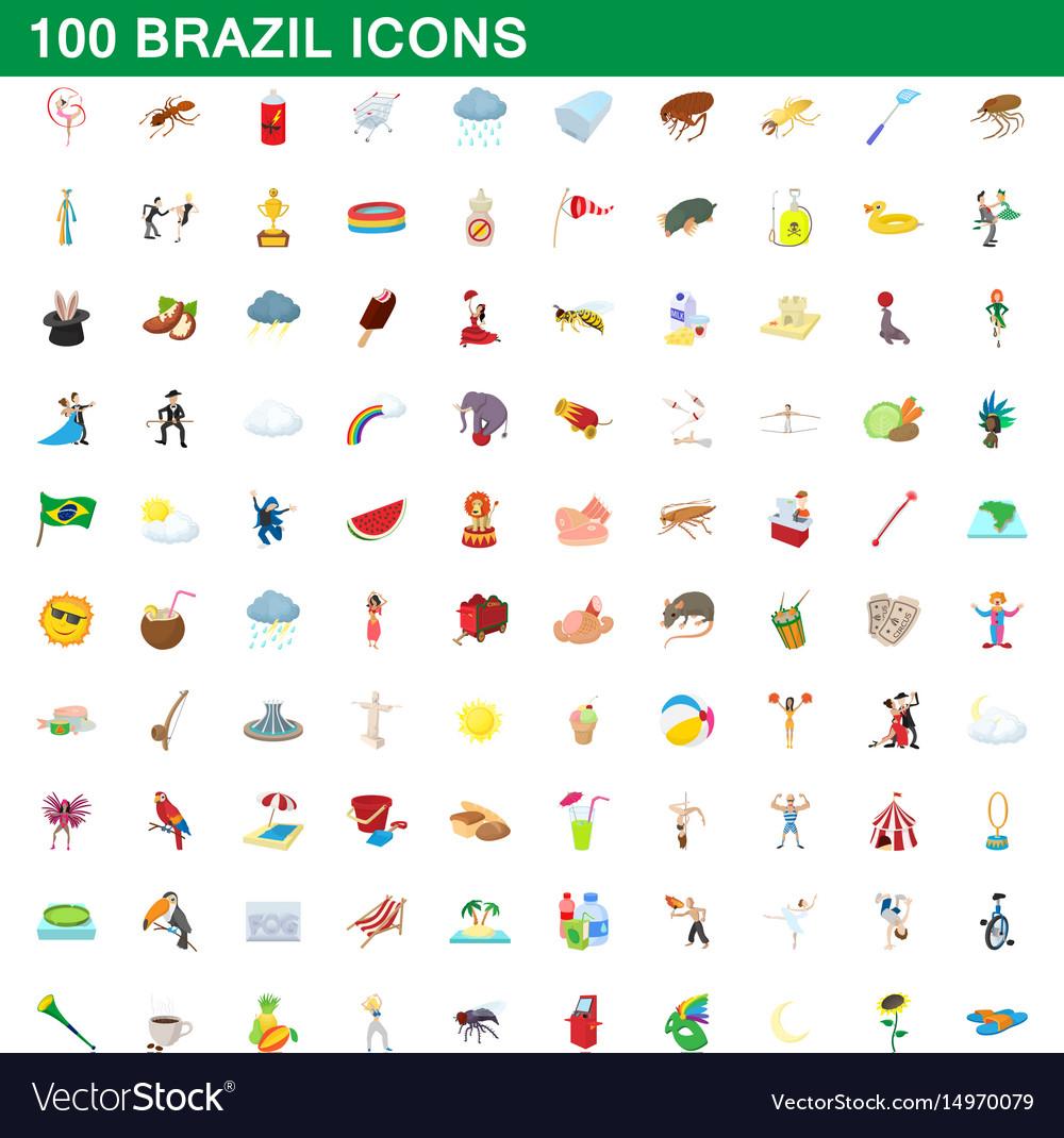 100 brazil icons set cartoon style