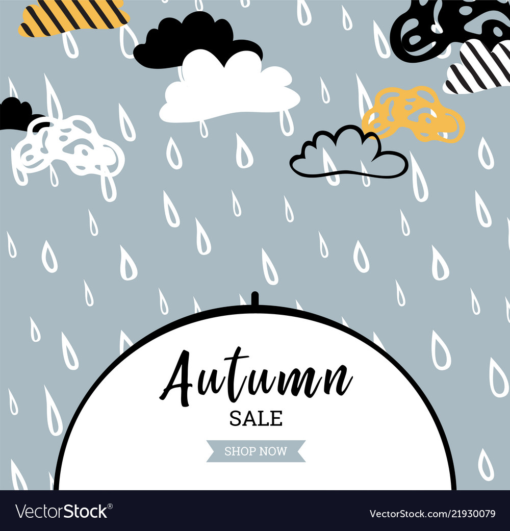 Autumn sale background with rain drops for