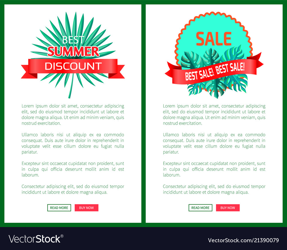 Best summer discount sale promo emblems with palms