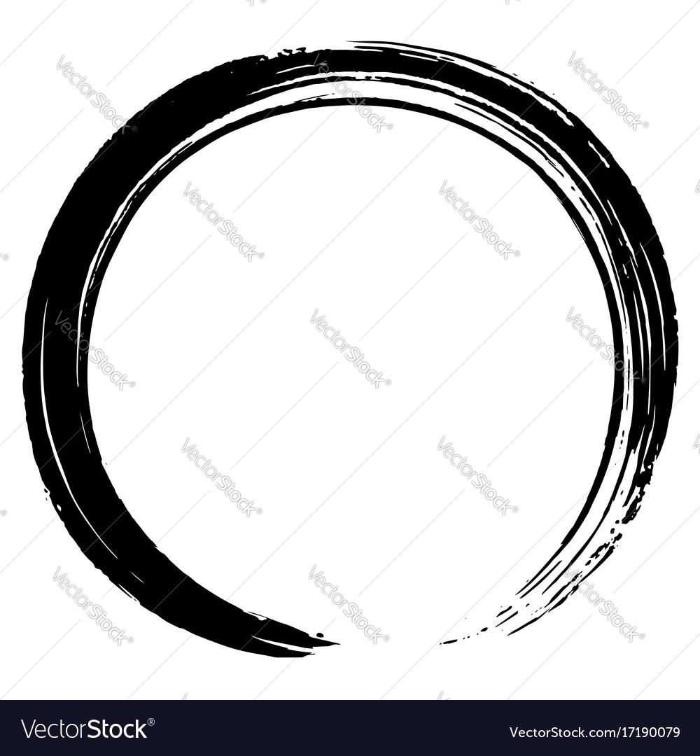 Black zen circle brush design vector image