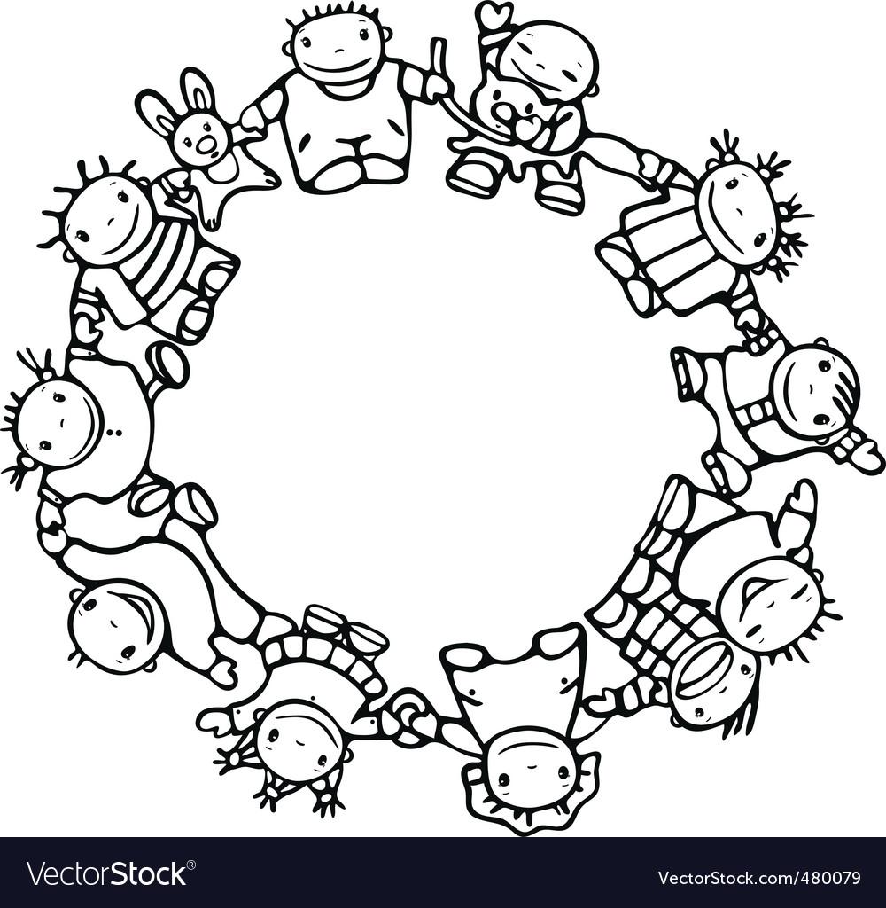 Circle of happy children