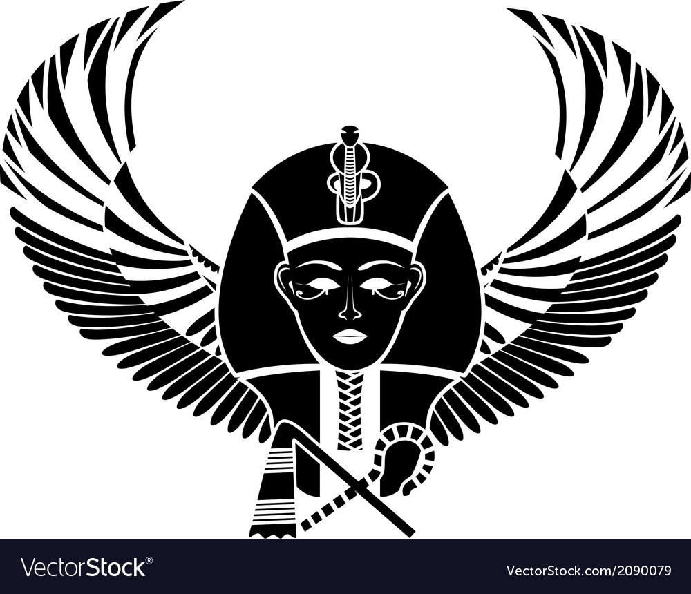 Egyptian Pharaoh With Wings Royalty Free Vector Image