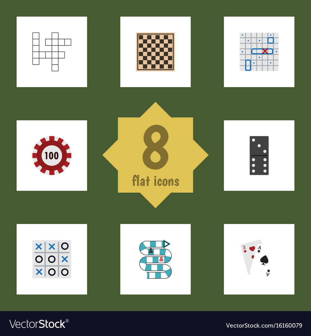 Flat icon play set of chess table ace poker and