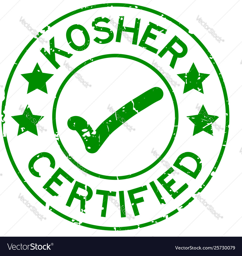 Grunge Green Kosher Certified Word With Mark Icon