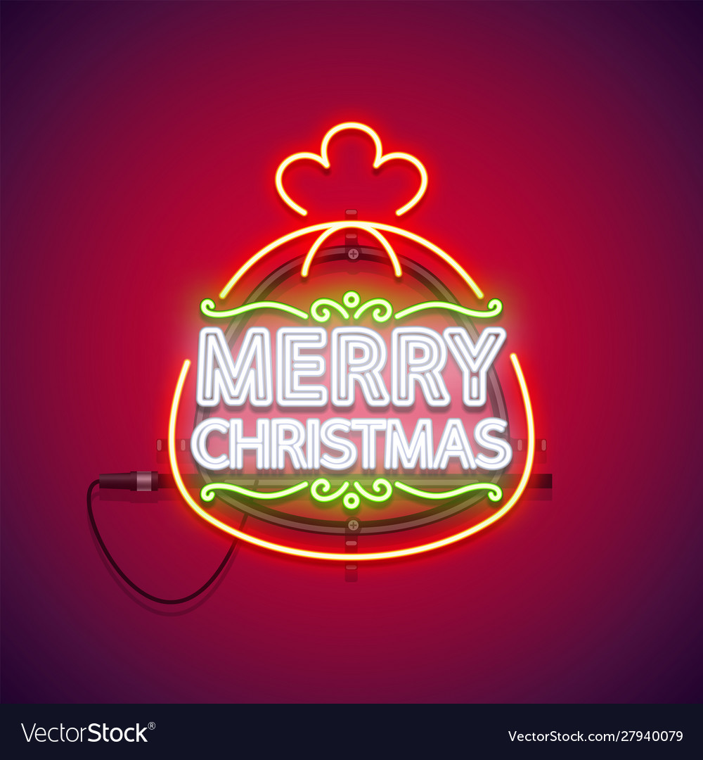 Merry christmas neon sign in gift bag