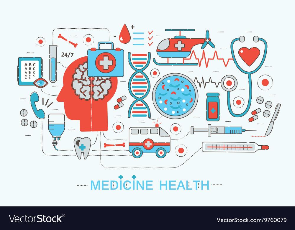 Modern Flat thin Line design science medical
