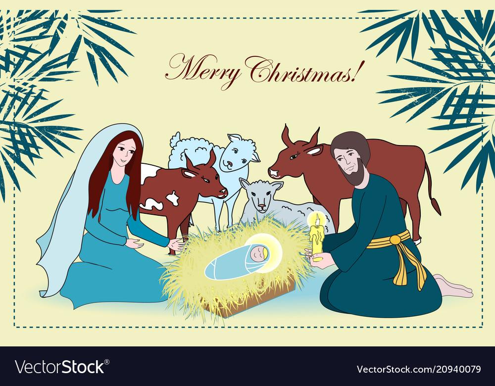Nativity scene with saint family and animals